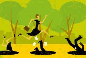 Illustration med en kvinde med en attachemappe, der springer over faldgruber, som andre falder i