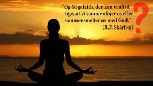 """En yogadyrker vendt mod solen ved solnedgang. Citat af Rie Skårhøj: """"Og Yogafaith, der kan vi altså sige, at vi sammenføjer os eller sammensmelter os med Gud"""""""