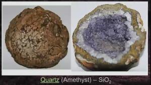 Billede af en ædelsten: ametyst i en geode.