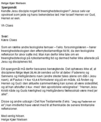 Helge Kjær Nielsen om forholdet mellem Bibel og treenighedslære 2